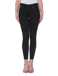 7 FOR ALL MANKIND The Skinny Crop Rinsed Black Frayed