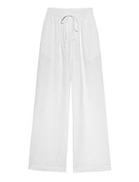 120% LINO Culotte Elastic Waist Linen White
