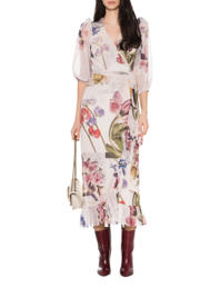 Ganni Tilden Mesh Flowers Dress Off-White