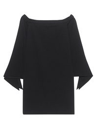 TIBI Structured Crepe Off The Schoulder Black