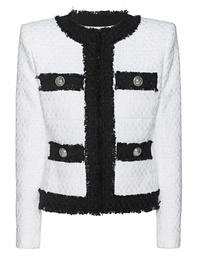 BALMAIN Collarless 4 Pocket Tweed White