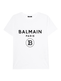 BALMAIN Flocked Logo White