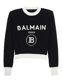 BALMAIN Cropped Fuzzy Logo Black