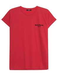 BALMAIN Flocked Logo Red