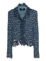 BALMAIN Fringed Tweed Blue