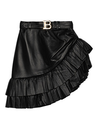 BALMAIN Asymmetric Ruffled Leather