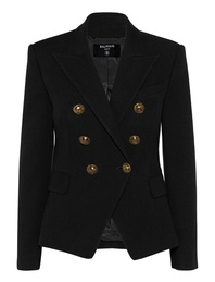 BALMAIN 6 BTN Cotton Pique Black
