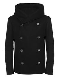 BALMAIN Peacoat Hooded Black