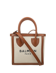 BALMAIN Army Shopper Canvas Brown