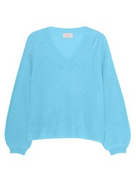 JADICTED V-Neck Cashmere Knit Lightblue