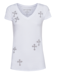 TRUE RELIGION VNeck Mini Cross White