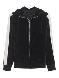 TRUE RELIGION Hooded Zip Stripe Jet Black