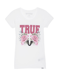 TRUE RELIGION Crew Shirt True Roses White