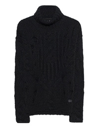 TRUE RELIGION Rollneck Destroyed Black