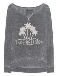 TRUE RELIGION Crew Fleece Palm Black