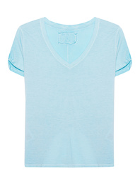 TRUE RELIGION Deep V-Neck Cold Dyed Blue Radiance