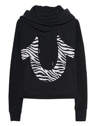 TRUE RELIGION Cropped Hood Zebra Black