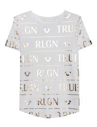 TRUE RELIGION Logo Gold Shirt Off-White
