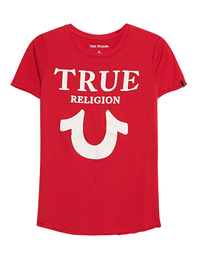 TRUE RELIGION Crew Shirt Logo Puffy Red