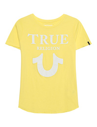 TRUE RELIGION Crew Shirt Logo Puffy Lemon