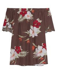TRUE RELIGION Off-Shoulder Vintage Lily Floral Brown