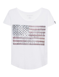 TRUE RELIGION American Flag Shirt White