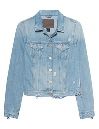 TRUE RELIGION Destroyed Zipper Light Blue