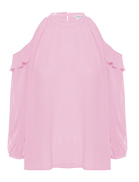 TRUE RELIGION Off-Shoulder Blouse Plissée Rose
