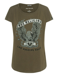 TRUE RELIGION Crew Relax Eagle Deep Green