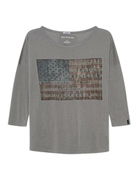TRUE RELIGION American Flag Rhinestones Grey