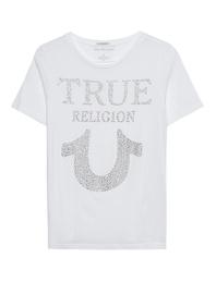 TRUE RELIGION Crew Neck Rhinestones White