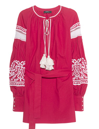 Wandering Embroidered Tunic Red