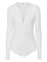 JAMES PERSE Linen Jersey Button Up White