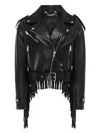 JACOB LEE Biker Jacket Fringle Black