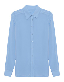 JADICTED Classic Silk Blouse Light Blue