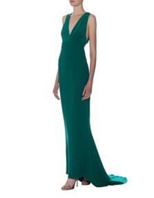 DVF Diane von Furstenberg Deep V Gown Green