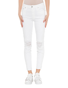 MOTHER Looker Ankle Fray White