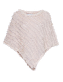 YOUNG COUTURE BY BARBARA SCHWARZER Fur Trim Poncho Rose