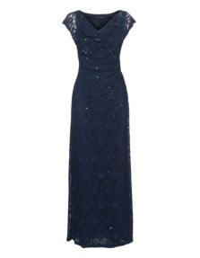 YOUNG COUTURE BY BARBARA SCHWARZER Long Lace Sequin Midnight