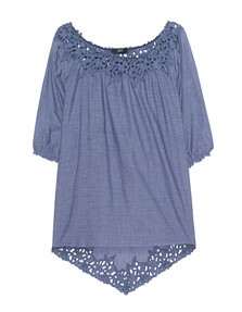 STEFFEN SCHRAUT Lace Off-Shoulder Indigo