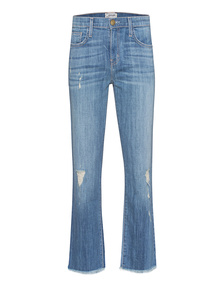 CURRENT/ELLIOTT The Kick Jean Blue Ocean Raw Hem