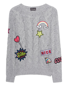 PRINCESS GOES HOLLYWOOD Cable Knit Patches White Smoke