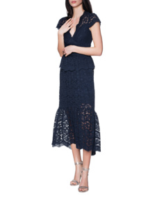 TEMPERLEY LONDON Lunar Lace V Neck Navy