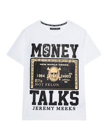 JEREMY MEEKS Money Talks Rhinestone White