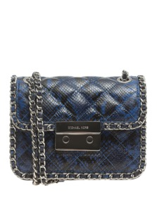 MICHAEL Michael KORS Carine Small Quilted Patent Blue