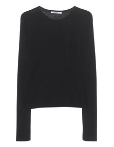 T BY ALEXANDER WANG New Classic Cropped Long Sleeve Black