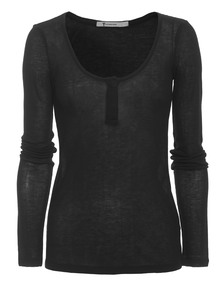 T BY ALEXANDER WANG Rib Henley Placket Black