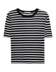 T BY ALEXANDER WANG Cropped Stripe Linen Tee Black