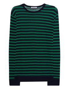 T BY ALEXANDER WANG Stripe Linen Long Tee Green