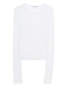 T BY ALEXANDER WANG New Classic Cropped Long Sleeve White